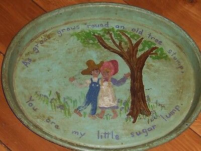 Hand painted green metal serving tray with farmer figures  VINTAGE