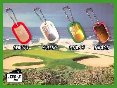 4 Personalized Golf Bag Tags Custom Embossed - Military Dog ID Tag - Golf Gifts