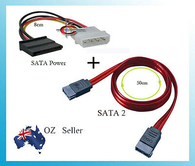 SATA 2 Data Cable and 4 Pin Male Molex to SATA Power Adapter