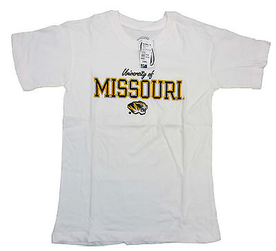 Missouri Tigers Adult White Embroidered Short Sleeve T-Shirt New