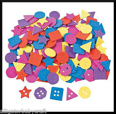 """50 Buttons Self-Adhesive Foam 1"""" Stickers Shapes Kids Bright Colors ABCraft"""