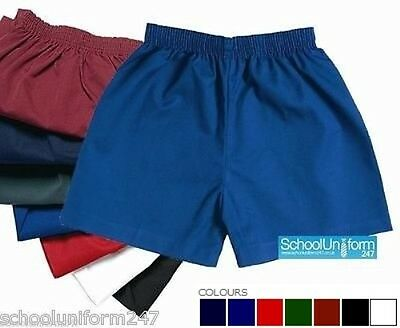 ZECO BOYS GIRLS KIDS SCHOOL UNIFORM PE SPORTS GAMES SHORTS POLY COTTON 2-18 yrs