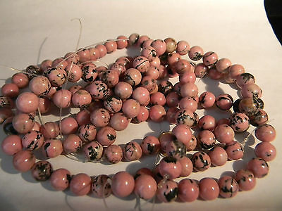 Rhodonite 10mm Round Drilled Gemstone Beads (1641)