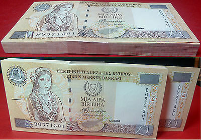 Buy one by one from a Cyprus £1 2004 UNC CONSECUTIVE Serial Number 100 note pack