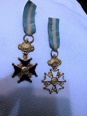 SUPERB LOT 2 BLUE AND  WHITE ENAMELED BIG CROSS SHAPE MEDALS