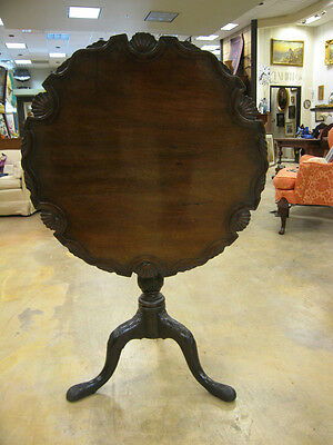 Antique 18th Century Carved Mahogany Tilt Table