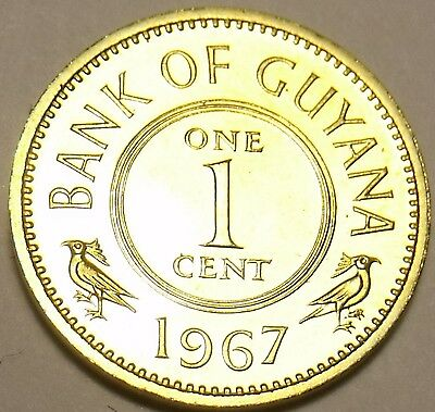 Rare Proof Guyana 1967 Cent~5,100 Minted~1St Year Ever~Free Shipping~