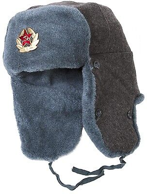 Soviet Army soldier surplus ushanka winter hat. Trapper Bomber Ear Flaps