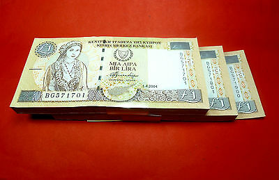 Buy one by one from a Cyprus £1 2004 UNC CONSECUTIVE Serial Number 200 note pack
