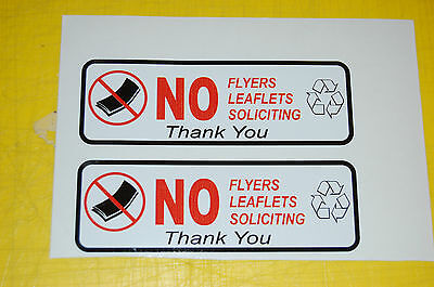 2 NO Flyers Soliciting Papers vinyl sticker home security outdoor safety