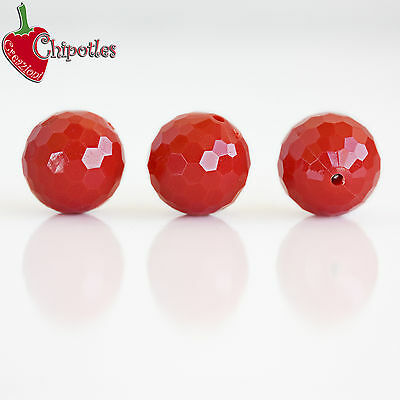 2 PERLE SFACCETTATE ROSSE sfere 20 mm PLASTICA red plastic faceted beads