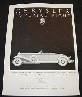 Automobile Chrysler Imperial Eight Roadster-Advertising-Pubblicita'-1931
