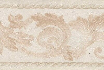 Acanthus Scroll Leaf Silk n Satin Wallpaper Border Pink Cream Trim