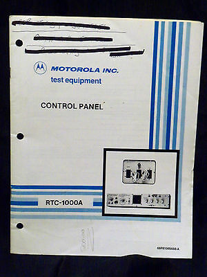 Motorola Control Panel Manual RTC1000A Test Equipment 68P81069A88-A