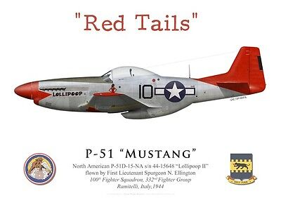 "Print P-51 Mustang, 1LT S. Ellington, 100th FS, 332nd FG ""Red Tails""(by G.Marie)"
