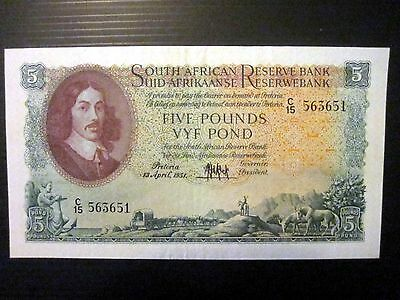 South Africa Lot P-96a 1951 5 Pounds VF+ Afrikaans RARE Add Collection