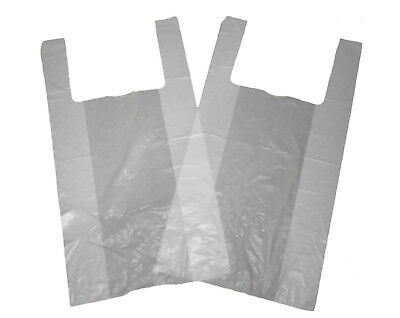 """100 x Cheap Small 10x15x18"""" White Vest Style Plastic Carrier Bags FREE P&P"""