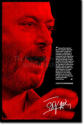 """Christopher Hitchens Photo Poster """"Red"""" Print God Is Not Great"""