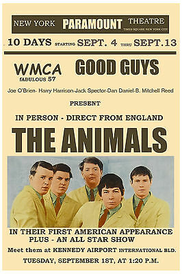 The Animals at  New York Paramount Theatre Concert Poster * 1st USA Tour 1964 *