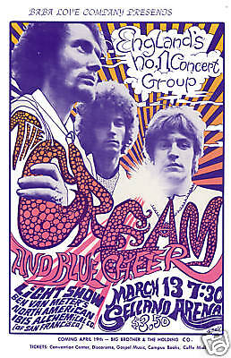 Eric Clapton & Cream at the Selland Arena in  Fresno Concert Poster 1968  12x18