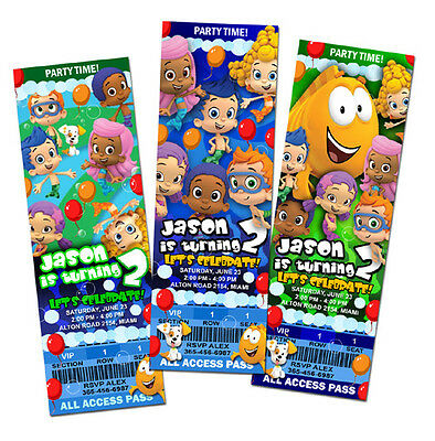 BUBBLE GUPPIES BIRTHDAY PARTY INVITATION TICKET CUSTOM PHOTO first 1st INVITE a2
