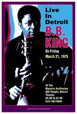 Blues: BB King at  Detroit Concert Poster 1975