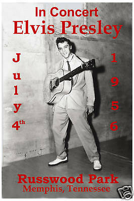 Elvis Presley at  Russwood Park, Memphis TN. Concert Poster from 1956