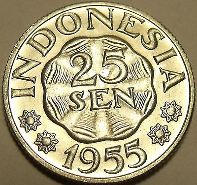 Gem Unc Indonesia 1955 25 Sen~1st Year Minted~Excellent~Free Shipping