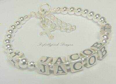 PERSONALISED ANY NAME Boys Communion Christening Bracelet  Sterling Silver