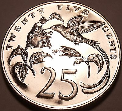 Huge Proof Jamaica 1974 25 Cents~Hummingbird~Mintage 22,000~Free Shipping