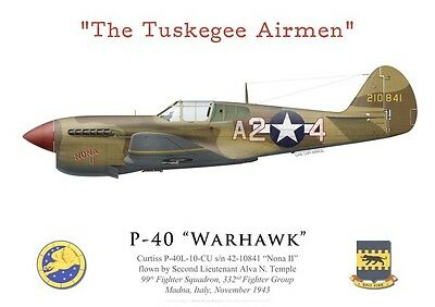 "Print P-40 Warhawk, 2Lt Temple, 99th FS, 332nd FG ""Tuskegee Airmen"" (by G.Marie)"