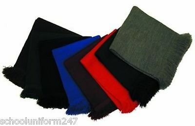 Boys Girls Children Knitted Plain School Scarfs Winter Wear Warm Uniform 4-12yrs