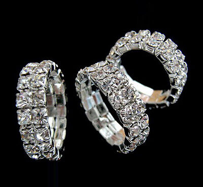 Wholesale 12pcs 2Rows Clear Austria Crystal Rhinestone Elastic Jewelry Rings