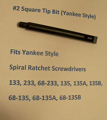 Square Tip Bit No.2 for Stanley Yankee Craftsman North Bros Style Screwdrivers