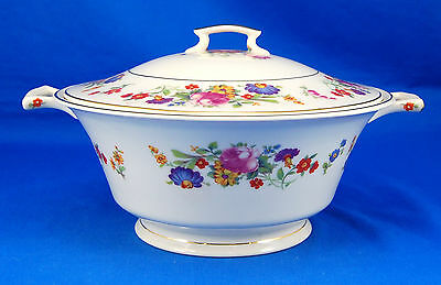 Syracuse China Old Ivory SHARON Round Covered Vegetable Bowl 7.875 in. Pink Blue