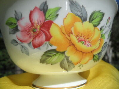 SHELLEY * CAPPERS PINK AND YELLOW ROSE *  LARGE  SUGAR  BOWL