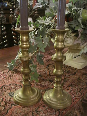 Pair Antique English Brass Candlesticks Victorian Candle Holders Old Vintage