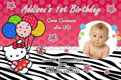 HELLO KITTY ZEBRA BIRTHDAY PARTY INVITATION PHOTO 1ST first CARD INVITE - c2