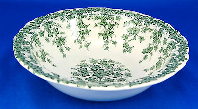 Crown Ducal EARLY ENGLISH IVY - GREEN Rimmed Cereal Bowl 6.75 in. Vines White