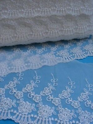 "4-1/4"" White Embroidered Floral Net Lace Trims(2 Yards)"