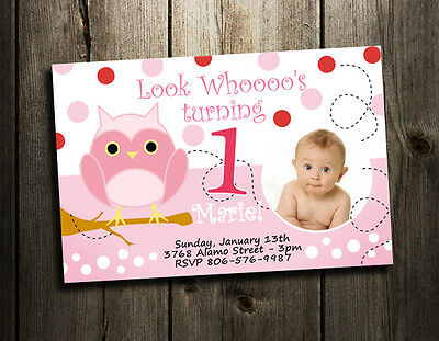 Owl Birthday Party Invitation Custom 1St Baby Shower Invites - Girl Pink First