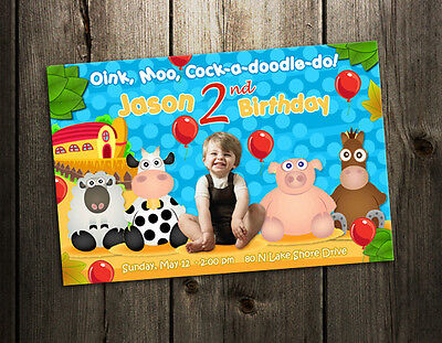 BARN FARM YARD BARNYARD BIRTHDAY PARTY INVITATION CUSTOM INVITE baby shower - c1