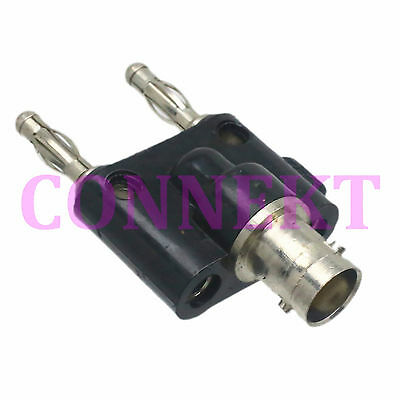 BNC female jack to two dual Banana male plug RF adapter connector