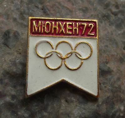 1972 Munich Germany Summer Olympic Rings Games Supporters Souvenier Pin Badge