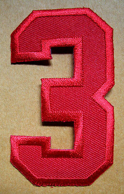 NUMBER THREE NO.3 #3 Red Embroidered Iron on Patch + Free Shipping