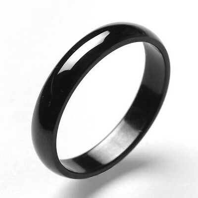Wholesale 36pcs 4mm 316L Stainless Steel Black Glossy Polished Plain Band Rings