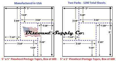 5X5 Pinwheel Postage Meter Tapes Pitney Bowes Hasler Neopost 2 pk/two pack 1200