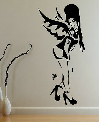 Banksy Style A Tribute To Amy Winehouse Graffiti Art / Large Vinyl Wall Stickers