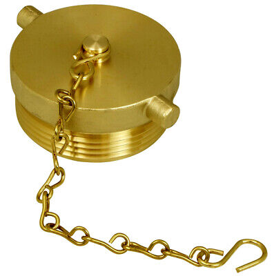 "2-1/2"" NST NH Fire Hose Hydrant or FDC Plug with Chain- Aluminum (Brass Finish)"