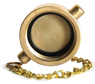 "1-1/2"" NST Cap and Chain Brass Plated Cast Aluminum for Fire Hose, Hydrants -NNI"